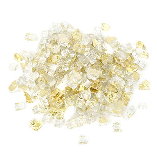 Stanbroil 10-Pound 1/2 inch Fire Glass for Fireplace Fire Pit, Gold Reflective