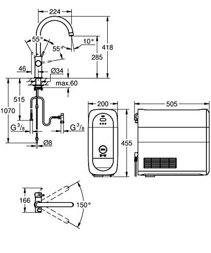 Grohe Blue Home Duo – 2-in-1 Trinkwassersystem und Küchenarmatur (gekühlt, gefiltert, mit Kohlensäure, C-Auslauf) 31455000 - 2