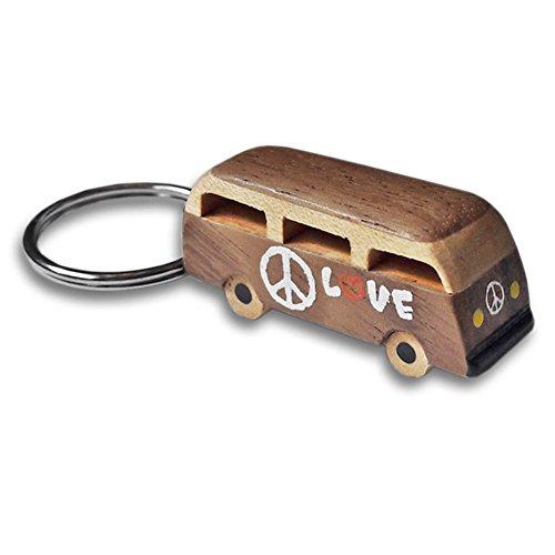 ootb VW Bus Holz Schlüsselanhänger - Schlüsselanhänger einzeln verkauft - Volkswagen, Hippie-Van, Frieden, Liebe, Auto, Camper