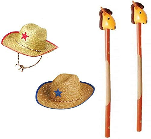 Novelty Treasures Costume Play Set Child Western Cowboy Hat and Riding Stick Horse Inflate (2 Sets)