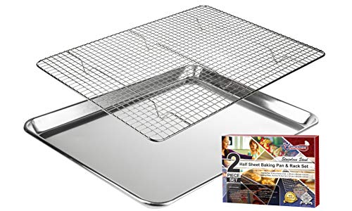 KITCHENATICS Baking Sheet with Cooling Rack: Half Aluminum Cookie Pan Tray with Stainless Steel Wire and Roasting Rack - 13.1' x 17.9' - Heavy Duty Commercial Quality