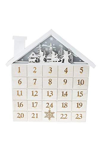 Clever Creations - Adventskalender in Hausform - Weihnachtsmotiv mit Kindern auf Schlitten - hochwertige Weihnachtsdekoration - stabile Holzkonstruktion - 27,9 x 5,1 x 35,6 cm