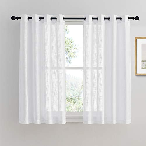 PONY DANCE Bathroom Sheers Curtains - White Voile Linen Look Semi-Transparent Casual Top Grommet Silver Short Valances for Small Window Kitchen & Cafe, Wide 52 x Long 45 in, 2 Pieces