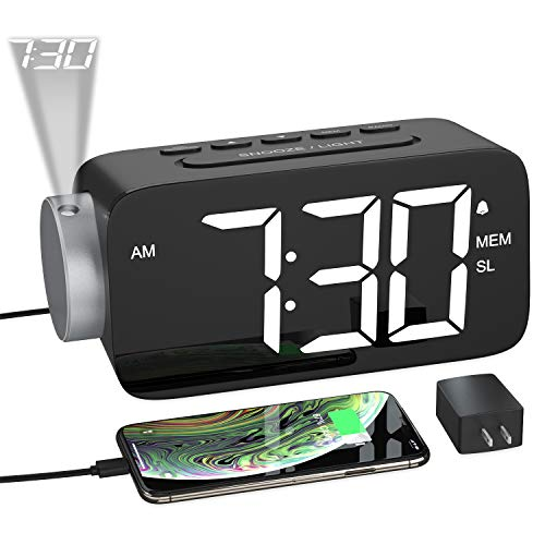 YISSVIC Despertador Digital con Proyector, Reloj Despertador Proyección con Rotación 180° con FM Radio, 15 Niveles Volumen, Pantalla LED 6,5'', 12/24 Hora, Snooze, Cable USB y Adaptador