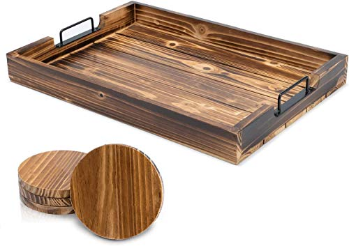 Ottoman Tray for Coffee Table - 17 x 13 Inch Decorative Serving Tray with Handles For Coffee Table and Living Room - Including 4 Round Wooden Coasters - By SimplyKitchenPlus
