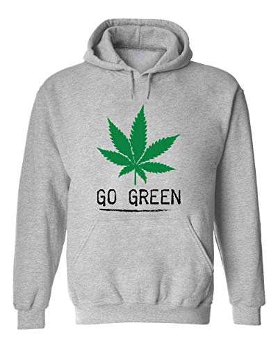 Brenos Design Go Green Ganja Marijuana Cannabis Weed Leaf 420 Unisexe Sweat-Shirt à Capuche Large
