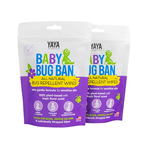 YAYA ORGANICS Baby Bug BAN Insect Repellent Wipes – All-Natural, DEET-Free, Non-Toxic, for Babies, Kids and Sensitive Skin (24 Count, Pack of 2)