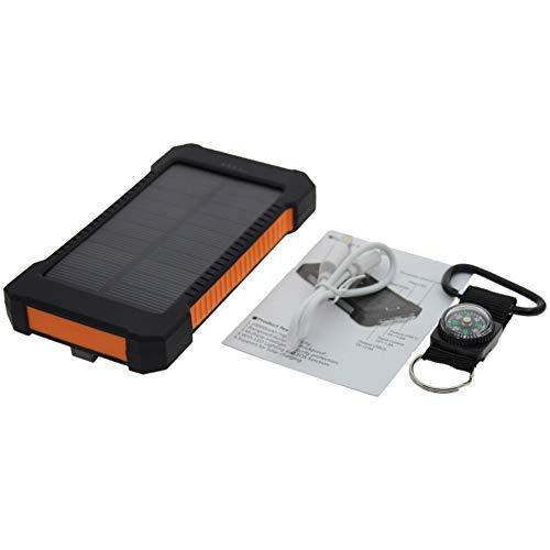 Power Bank Portable 8000mAh, téléphone, charge solaire,batterie de grande capacité, lampe de poche LED et lampe d'avertissement SOS pour les activités de plein air, smartphone, tablette et plus,Orange