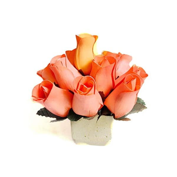 Orange Fake Roses Scented Wooden Flowers 13 Pc Artificial Rose Flower Bouquet In Concrete Pot With Refresher Spray