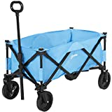 Outsunny Pull Along Cart Folding Cargo Wagon Trailer Trolley for Beach Garden Use with Telescopic Handle -...