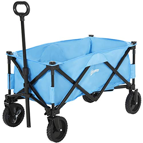 Outsunny Pull Along Cart Folding Cargo Wagon Trailer Trolley for Beach...