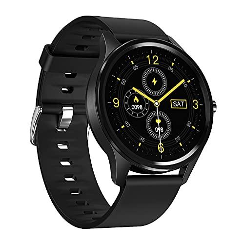 QFSLR Relojes Inteligentes Smartwatch IP67 con Monitor De Frecuencia Cardíaca Onitor De Presión Arterial Monitoreo De Oxígeno En Sangre Seguimiento del Sueño Mujer Hombre,Negro,L