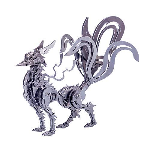 Gettesy 3D Metall Puzzle, DIY Neunschwänziger Fuchs Metall Modellbausatz, 3D Konstruktionsspielzeug Metall, Mechanischer Tier Baukasten Geschenk für Kinder Jugendliche Und Erwachsene