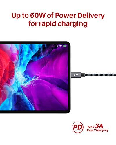 iVANKY USB C auf USB C Kabel 2M, USB Typ C Ladekabel 60W 3A, 10 Gbps USB C Datenkabel, Unterstützt 4K@60Hz-Videoübertragung, USB C Schnellladekabel für iPad Pro, MacBook Pro, Samsung und mehr - Grau