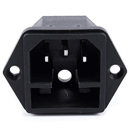 Gfhrisyty 2IEC 320 C14 macho tipo enchufe tornillo panel conector w fusible titular