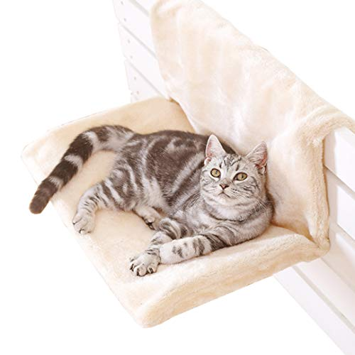 Authda Deluxe Removable Pet Cat Dog Radiator Bed Strong Durable Hanging Hammock Style Radiator Cradle Bed for Small Pet Cat Kitten (Beige)