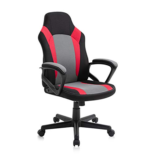 Seatingplus Video Gaming Chair, Cheap Adjustable Computer Office Chair for Kids, Fabric Desk Chair with Height Adjustment and Padded Armrests (Red)