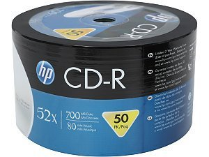 Spool of 50 HP CD-R80 Full Face Inkjet Printable 700MB 52X (50 Pieces of 80 mins recordable CD Bulk Packed Spool)
