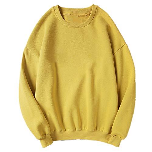 Primavera y otoño de algodón T cuello redondo Jersey de color sólido Felpa de los hombres y las mujeres sueltos ajuste suéter de pareja estilo básico