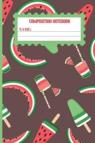 Composition Notebook: Watermelon gifts: cute & elegant Woody Brown colored pattern college ruled lined paper to write in.