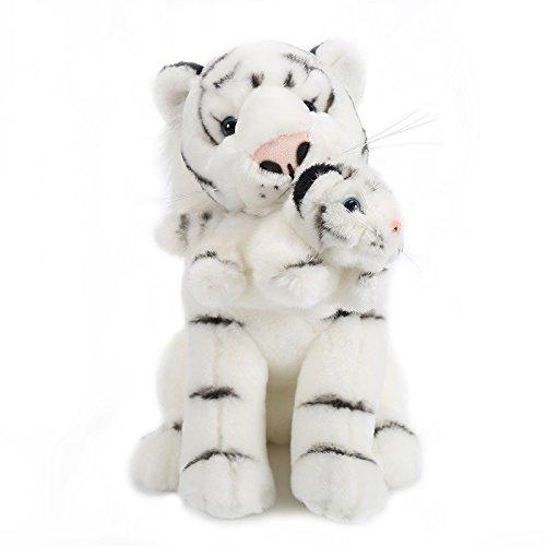 Lazada Plush Mum Tiger con Baby Tiger Set Juguete de Peluche Blanco 28