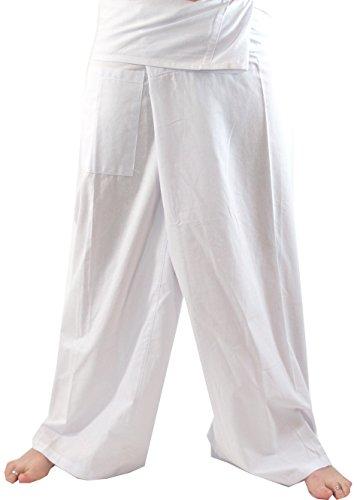 Guru-Shop Thai Fischerhose aus Viskose, Leicht Fallender Stoff, Wickelhose, Yogahose, Herren/Damen, L/XL Weiß, Synthetisch, Size:One Size, Fischerhosen & Yogahosen Alternative Bekleidung