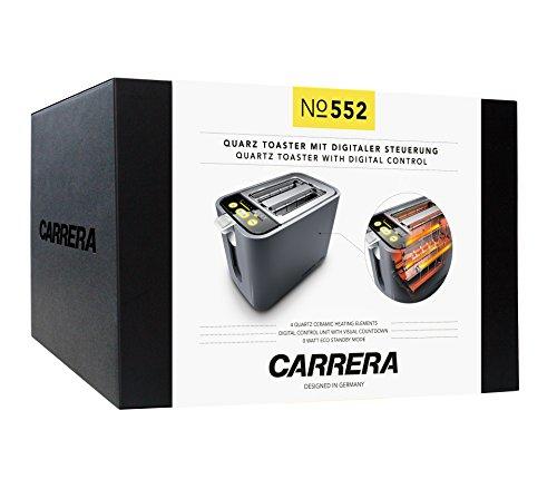 CARRERA 552 Toaster mit integriertem Brötchenaufsatz | 860 W, Quarzglasheizung, Digitale Steuereinheit, 9 Feinabstufungen und optische Countdown-Funktion | 2 Scheiben