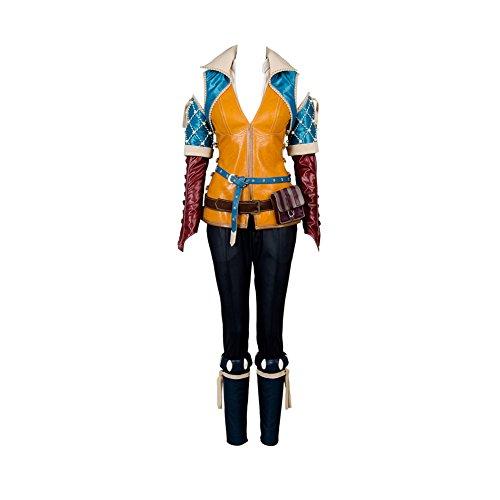 prettycos Gioco Cosplay Fancy Dress Triss Merigold Attrezzatura Costume in Pelle Set Completo,S