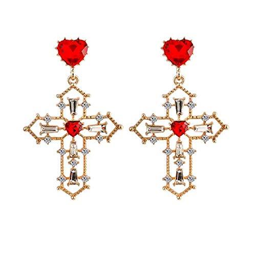 Pendientes de gota de cruz de cristal vintage para mujer Pendientes de cruz de color dorado largo bohemio barroco Joyería