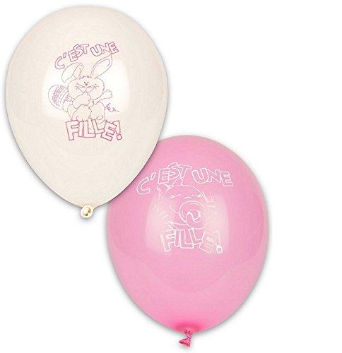 Lot 10 Ballon C est une fille Decoration 28cm Rose et Blanc - 5216-FRA