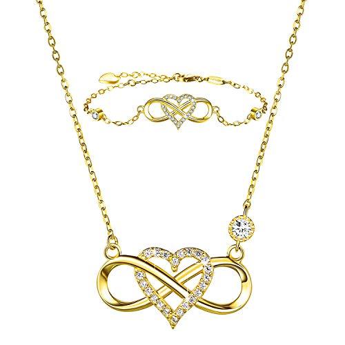 BlingGem Schmuck-Set für Damen 925 Sterling Silber Vergoldetem Unendlichkeits Herz Anhänger Halsketten Armband Set Geschenk für Frauen