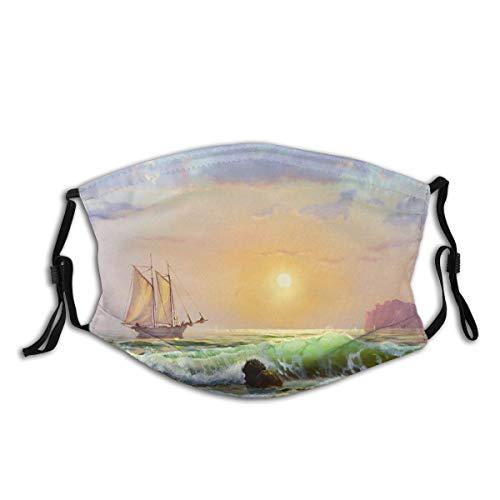 AIMILUX Gesichtsbedeckung,Ölgemälde auf Segeltuch Segelboot vor dem Hintergrund des Meeressonnenuntergangs,Winddicht Staubschutz Mund Bandanas Outdoor Neck Gamasche Mit 2 Filtern