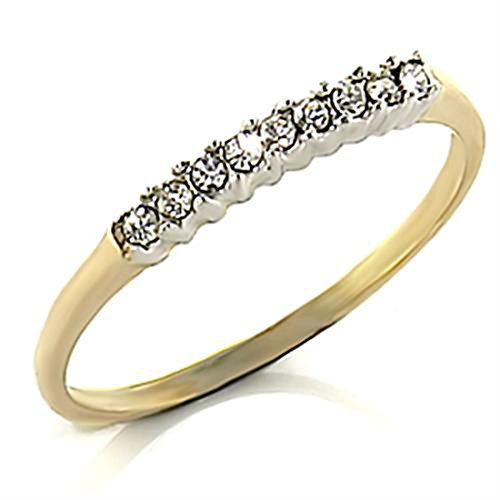 Womens Two Tone Half Eternity Swarovski Elements Crystal ring. 24k gold electroplated.