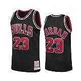 WOLFIRE WF Camiseta de Baloncesto para Hombre, NBA, Chicago Bulls #23 Michael Jordan. Bordado, Transpirable y Resistente al Desgaste Camiseta para Fan (Negra, L)