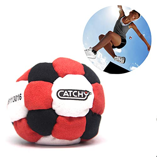 YoYo Factory Catchy Footbag - 26 Panels Hacky Sack Good for Any Skill Level - Red / Black (Freestyle Foot Bag, Best Skilltoy for Kids, Teens, Adults)
