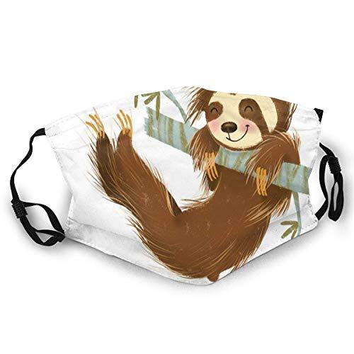 Waschbare glückliche fröhliche Tier-Schaukel auf AST handgezeichnete Cartoon-Illustration Unisex-Gesichtsbedeckung