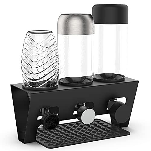 Rainsworth Flaschenhalter kompatibel mit SodaStream und gängige Wasserflaschen, 3er Edelstahl Abtropfhalter, Abtropfständer Abtropfgestell inkl. Silikonschutzringe, Abtropfmatte und Deckelhalter