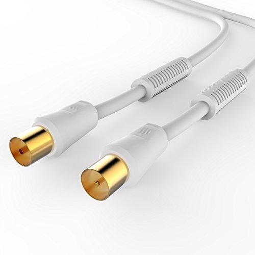 Sentivus ATVC010-050 Cable de antena de TV HDTV 110dB (conector coaxial - toma coaxial), 4 veces blindado, dorado, 5,00m, blanco
