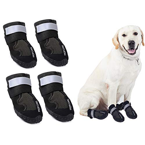PROPLUMS Waterproof Dog Boots, Dog Hiking Shoes Protect The Paws from Injury, Suit for Labrador Husky and Other Medium Large Dogs, Grid Anti-Skid Design 4 pcs (Size 8: 3.3'x2.9') …