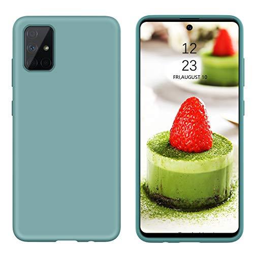 BENTOBEN Samsung Galaxy A51 Hülle Silikon Hülle, Samsung Galaxy A51 Handyhülle Slim Kratzfest Flüssigsilikon Gummi Liquid Silikon Hülle für Samsung Galaxy A51 Kieferngrün