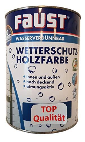 Faust Wetterschutz Wasserverdünnbar Holzfarbe innen&außen Seidenmatt 0,75 Liter Farbwahl, Farbe:enzianblau