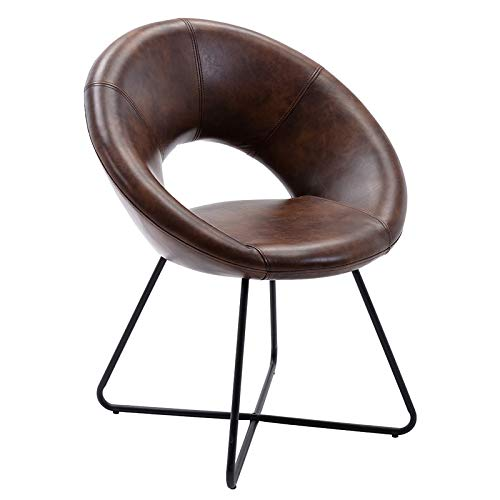 Duhome Modern PU Leather Accent Chairs Dining Chairs Arm Chair for Living Room Furniture Mid-Century Leisure Lounge Chairs with Black Metal Legs Industrial 1 PCS Dark Brown