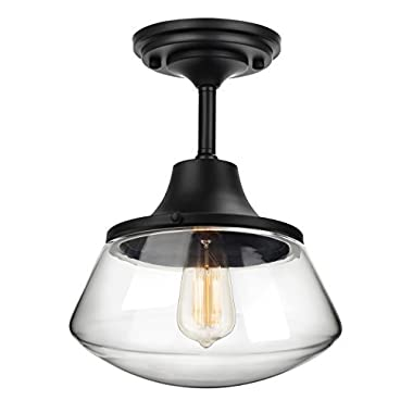 Petronius Industrial Semi Flush Mount Ceiling Light, Clear Glass Pendant Lighting Shade, Edison Vintage Style Hanging Lights Fixture