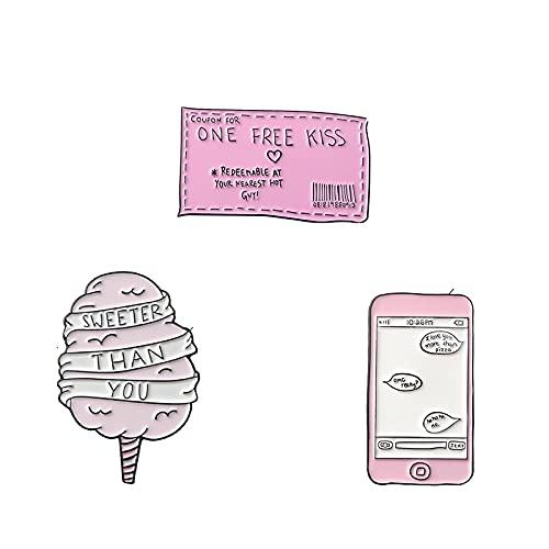 Ein kostenloses Kuss-Ticket, süßer als Sie Zuckerwatte Lustige SMS Emaille Pins Broschen Abzeichen Pink Pin für Paar Schmuck Broche