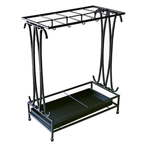 Paraplu standaard, chassis, praktische stevige metalen houder standaard voor lange en korte paraplu, kantoor, woonkamer decoratie Collocation in hal foyer,(10 gat 8 haak)