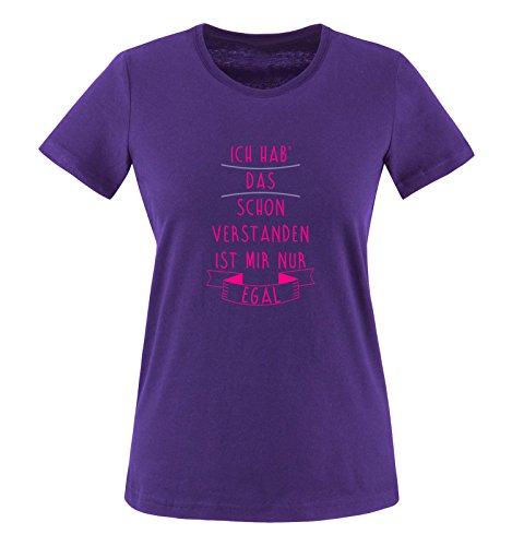 Comedy Shirts - Ich hab das Schon verstanden, ist Mir nur egal. - Damen T-Shirt - Lila/Pink-Violett Gr. L