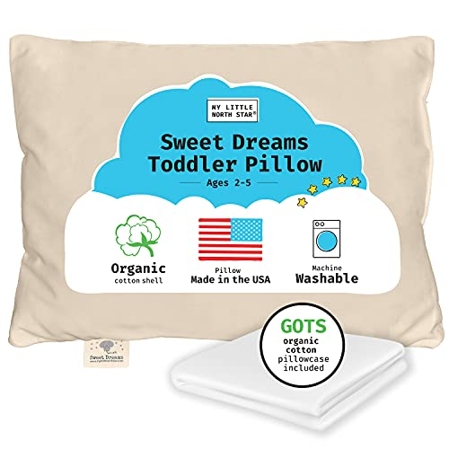 Toddler Pillow, Organic Cotton Shell Made in USA & GOTS Certified Organic Pillowcase | Soft Supportive Washable Kids Pillow White 13X18 - Packaging May Vary