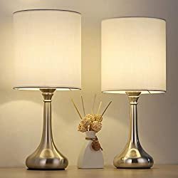 【Elegant and Classic Design】This minimalist table lamps will boost brightness in your home, doubling down on sleek style. Crafted from metal, each features a silver vase-shaped base, exhibiting streamlined curves that are the hallmark of modern desig...