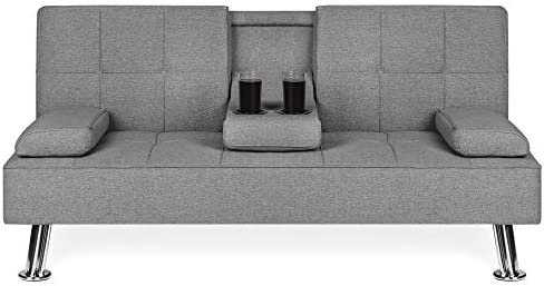 Best Best Choice Products Modern Linen Convertible Futon Sofa Bed w/Metal Legs, 2 Cupholders - Gray