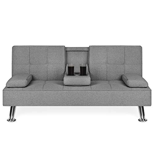 Best Choice Products Modern Linen Convertible Futon Sofa Bed w/Metal Legs, 2 Cupholders - Gray